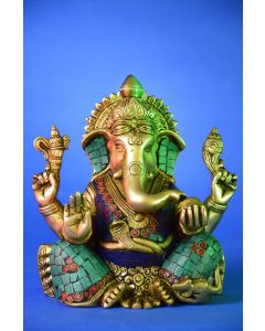Brass Stone Patch Ganesha Statue
