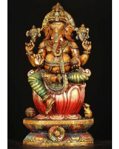 Colored Wooden Ganesha Statue