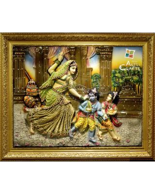 Mural Art With Frame Krishna