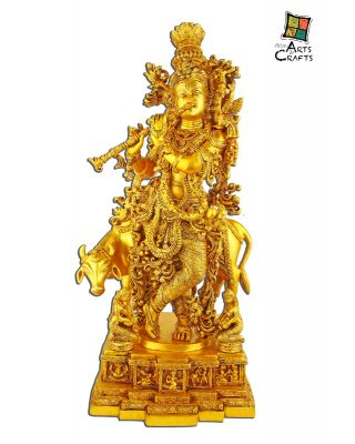 Brass Krishna with Cow