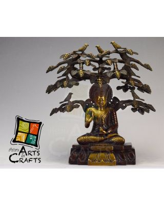 Buddha Sitting Under Tree  Brass