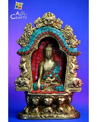 Buddha Stone Patch Brass Sculpture