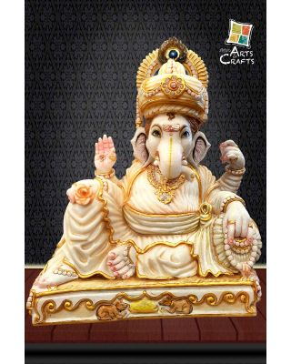 Cultured Marble Ganesha With Turban