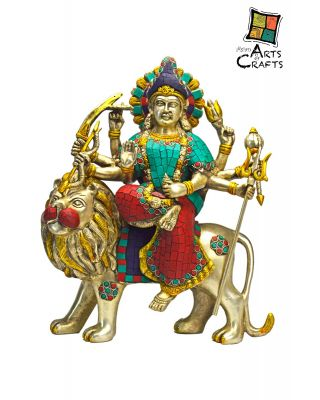 Brass Stone Patch Durga Maa Statue