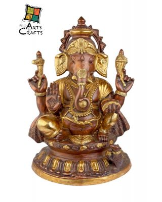 Brass Ganesha with brown and golden color