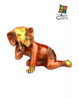 Golden Brown Brass Ganesha Statue
