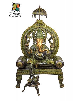 Brass Ganesha Statue with Black and Green color