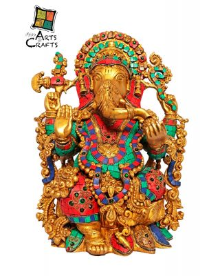 Stone Patch Ganesha Brass Statue