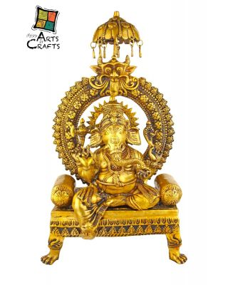 Brass Ganesha Statue Sitting Antique
