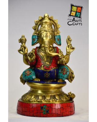 Ganesha Colored Brass Sculpture