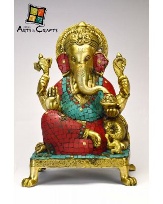 Ganesha Stone Patch Brass Statue With Base