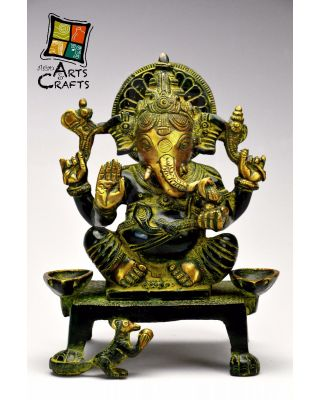 Ganesha With Sitting Stand Statue Brass