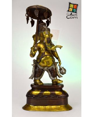 Ganesha Stands With Umbrella Brass
