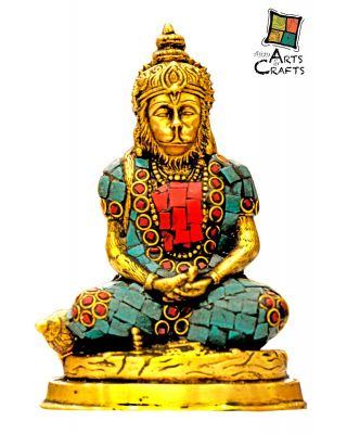 Brass Stone Patch Hanuman Statue