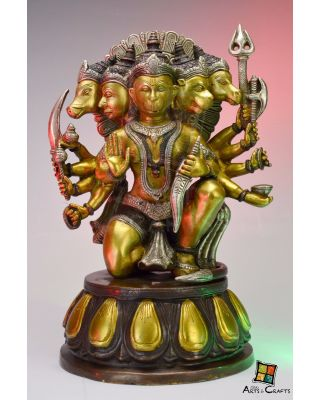 Hanuman 5 Face Brass Sculpture