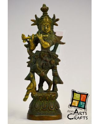 Krishna Brass Sculpture Antique