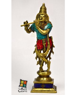 Krishna Stone Patch Brass Statue