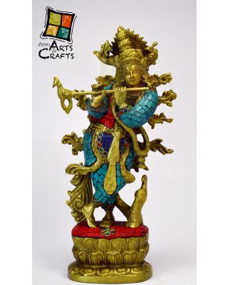 Krishna Designer Stone Patch Brass Sculpture