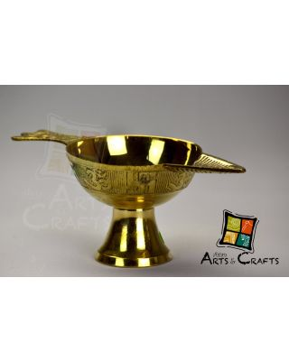 Puja Lamp Om Printed Brass