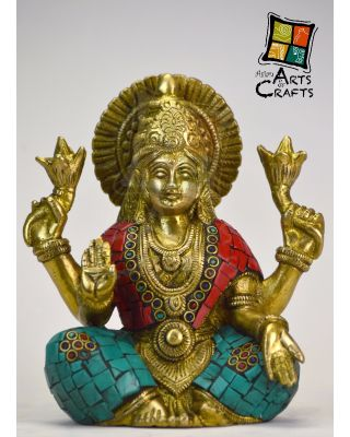 Laxmi Mata Stone Patch Brass Statue Without Base