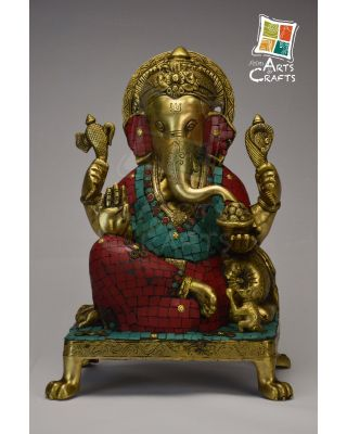 Brass Statue Shri Ganesha With Stone Patch