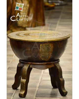 Stool Round Wooden N Brass Small