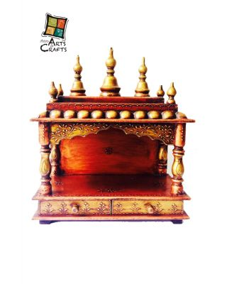 Wooden Temple With Rajasthani Art