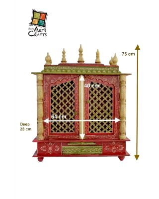 Wooden Temple Rajasthani Art With Doors