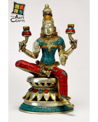 Vishnu Colored Brass Sculpture Stone Patch