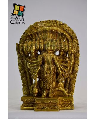 Vishnu Standing 15 Face Brass Sculpture